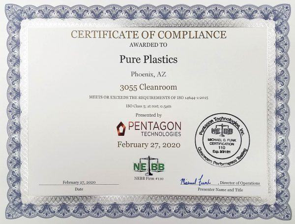 Pure Plastics 3055 In-house Clean Room Certification